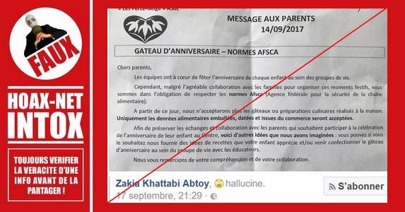 [Belgique] NON, l'AFSCA n'interdit pas les gâteaux «faits maison» à l'école