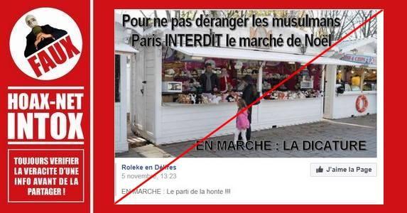 Non, Paris n'interdit pas le marché de Noël à cause des musulmans.