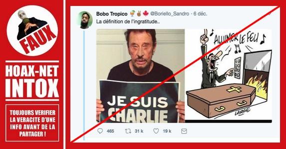 Non, «Charlie Hebdo» n'a pas publié ce dessin après la mort de Johnny Hallyday