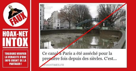 NON, le canal Saint-Martin n'a pas été asséché pour la première fois depuis des siècles.