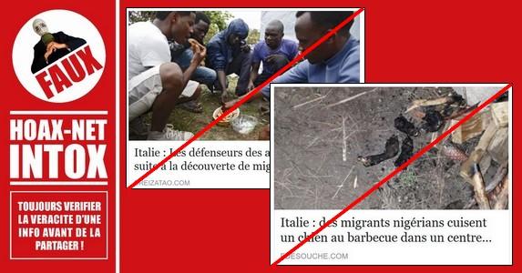 Non, des immigrants nigérians n'ont pas fait un barbecue festif de chien dans un camp de réfugiés en Italie.