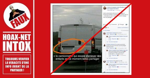 Non, cette camionnette blanche n'essaie toujours pas d'enlever des enfants.