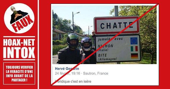 NON, ce panneau ne montre pas les jumelages de la ville de Chatte.