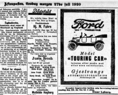 Dødsannonse Justa Broch, Aftenposten 27. juli 1920