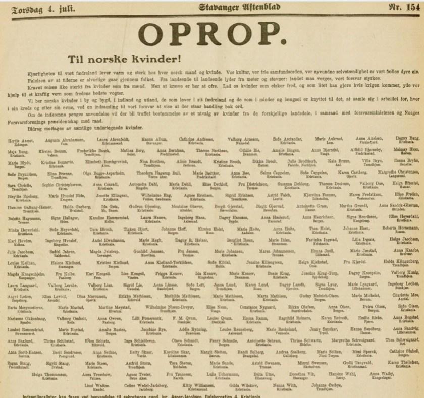 Opprop til norsk kvinder! - Stavanger Aftenblad 4. juli 1912 - Dikka Broch m.fl