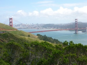 Looking back across the Golden Gate Bridge from the Marin Headlands.