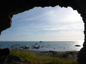 Looking out from a cave at the Lost Coast shoreline just north of the Mattole River (a harrowing one to cross!).
