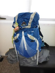 My pack, including the little orange SPOT GPS tracker that shows my progress up the coast.