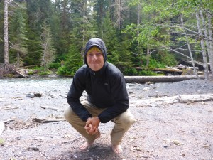 In front of the Elwha River, in Olympic National Park.  It was a mix of sun and rain.