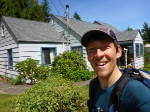 Arrival at the Debey household in Port Angeles.  Pay no attention to that strange looking stubble on my chin.