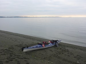 My beautiful new boat, ready to launch, with Victoria in the distance.