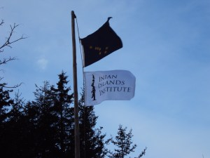 The Alaska and Inian Islands Institute flags flying at the Hobbit Hole.