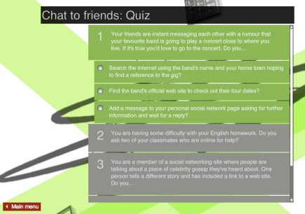 Example quiz for students to interact with