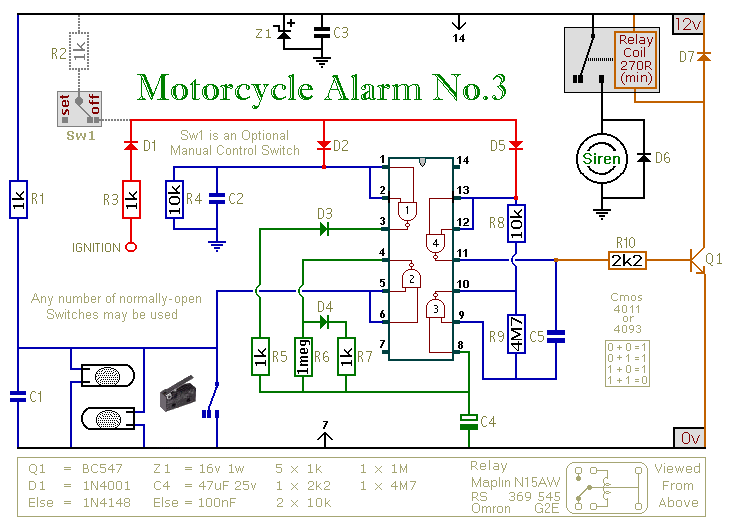 A Cmos Based Motorcycle Alarm Circuit Diagram And Instructions