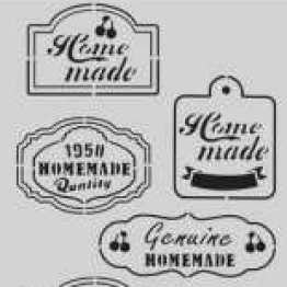 Fifties Kitchen labels A6 - CraftEmotions clearstamps