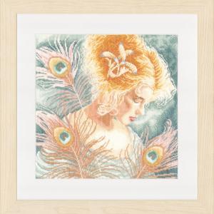Lanarte Borduurpakket - Jonge vrouw met pauwenveren