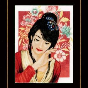 Lanarte Borduurpakket - Aziatisch bloemenmeisje