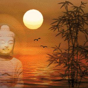 MyHobby borduurpakket - boeddha bij zonsondergang
