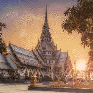 MyHobby borduurpakket - tempel bij zonsopgang