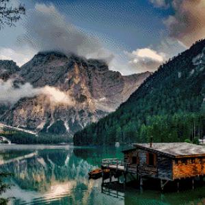 MyHobby borduurpakket - huisje bij het meer