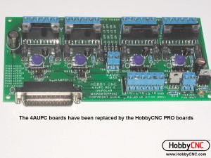 HobbyCNC 4AUPC 4-Axis board. Replaced by HobbyCNC PRO Stepper Motor Controller board for DIY CNC Router, DIY CNC Mill, DIY CNC Lathe, Homemade CNC, DIY CNC Router electronics, DIY CNC Mill electronics, DIY CNC Lathe electronics