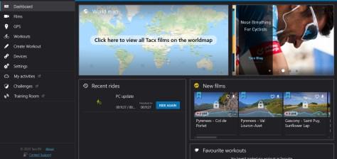 Tacx Training App  Dashboard