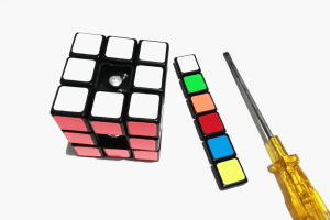 image of a speedcube without the center caps