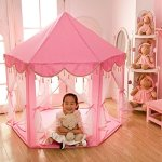 100-Cotton-Fabric-Extra-Thick-Pink-Hexagon-Princess-Castle-with-Beading-Decoration-Cute-Indoor-Kids-Play-Tent-Outdoor-Girls-Playhouse-with-23ft-LED-Star-String-Lights55Diameter53-Height-0-1