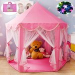 100-Cotton-Fabric-Extra-Thick-Pink-Hexagon-Princess-Castle-with-Beading-Decoration-Cute-Indoor-Kids-Play-Tent-Outdoor-Girls-Playhouse-with-23ft-LED-Star-String-Lights55Diameter53-Height-0