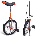 18-Inches-Wheel-Skid-Proof-Tread-Pattern-Unicycle-W-Stand-Uni-Cycle-Bike-Cycling-ORANGE-0