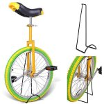 20-Inches-Wheel-Skid-Proof-Tread-Pattern-Unicycle-W-Stand-Uni-Cycle-Bike-Cycling-YELLOW-GREEN-0