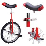 20in-Red-Chrome-Unicycle-W-Free-Stand-Wheel-Skidproof-Tire-Bike-Unicycle-Cycling-0-0