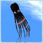 7M-Large-Octopus-Paul-Parafoil-Kite-Black-with-Handle-String-Beach-Park-Outdoor-Fun-0