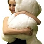 Big-Plump-and-Soft-Teddy-Bear-30-Inches-White-Color-Holding-Red-and-White-Floral-Design-Plush-Heart-Pillow-0-0