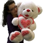 Big-Plump-and-Soft-Teddy-Bear-30-Inches-White-Color-Holding-Red-and-White-Floral-Design-Plush-Heart-Pillow-0-1
