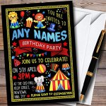 Black-Kids-Circus-Carnival-Clown-Personalized-Childrens-Birthday-Party-Invitations-0
