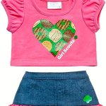 Build-a-Bear-Girl-Scout-Hot-Pink-Tee-Denim-Skirt-2-pc-Heart-Outfit-Teddy-Size-Clothes-0
