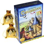 Carcassonne-Game-New-Edition-for-2-to-5-Players–Includes-River-Expansion-The-Abbot-Expansion–Bonus-2-Gold-Drawstring-Storage-Bags-by-Z-Man-Games-0-1
