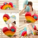 Cute-Plush-Toy-For-Valentines-Day-Gift-A-Pair-Heart-shaped-Rainbow-Color-Pillow-0-0