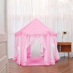 CuteKing-Princess-Castle-Kids-Play-Tent-Children-Large-Playhouse-with-LED-Small-Star-Lights-Pink-0-0