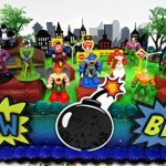 DC-Comic-Super-Friends-Birthday-Cake-Topper-Set-Featuring-Super-Hero-Crime-Fighters-and-Villains-with-Decorative-Accessories-0