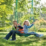 Deluxe-Platform-Hanging-Tree-Swing-for-Yard-or-Playground-Webbed-Nylon-Rope-Mat-and-Padded-Steel-Frame-Multiple-Kids-40-L-x-30-W-0-0
