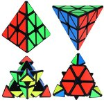 Dreampark-Speed-Cube-Bundle-5-Pack-2×2-3×3-Pyramid-Megaminx-Skewb-Magic-Cube-Puzzle-collection-Toys-for-Kids-and-Adults-Black-0-0