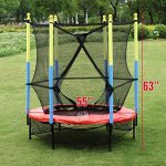 Fun-Family-Kids-Outdoor-Exercise-Springy-Trampoline-55-Round-Mini-Playground-Equipment-With-Enclosure-Net-Pad-0-1