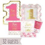 Fun-to-be-One-1st-Birthday-Girl-with-Gold-Foil-Party-Tableware-Plates-Cups-Napkins-Bundle-for-32-0