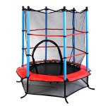 Giantex-55-Round-Kids-Mini-Jumping-Trampoline-W-Safety-Pad-Enclosure-Combo-Multicolor-0