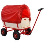 Goplus-Children-Kids-Toys-Cart-Wagon-Stroller-Outdoor-w-Wood-Railing-Red-Covered-New-0-2