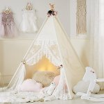 HAN-MM-Floral-Classic-Ivory-Kids-Teepee-Kids-Play-Tent-Childrens-Play-House-Tipi-Kids-Room-Decor-0