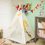 Kids-Canvas-Teepee-For-Play-and-the-Great-Outdoors-Durable-Child-Teepee-and-Playhouse-Large-Teepee-Tent-with-Floor-and-a-Ventilation-Door-Sturdy-Teepee-Hut-for-Kids-Play-Teepee-Camping-Tent-0-0