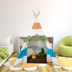 Kids-Canvas-Teepee-Tent-100-Cotton-with-Pine-Wood-Frame-WhiteGrey-Stripes-5-ft-Tall-Tee-Pee-Collapsible-for-easy-storage-0-1